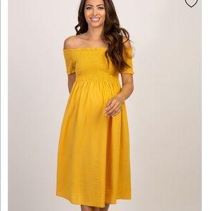 Maternity off the shoulders midi dress